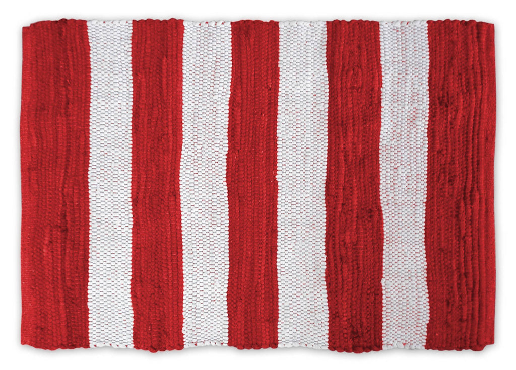 Red/White Stripe Rag Rug 2x3 Ft