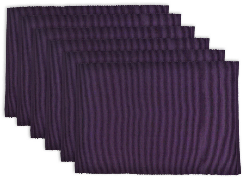 Eggplant Ribbed Placemat Set/6
