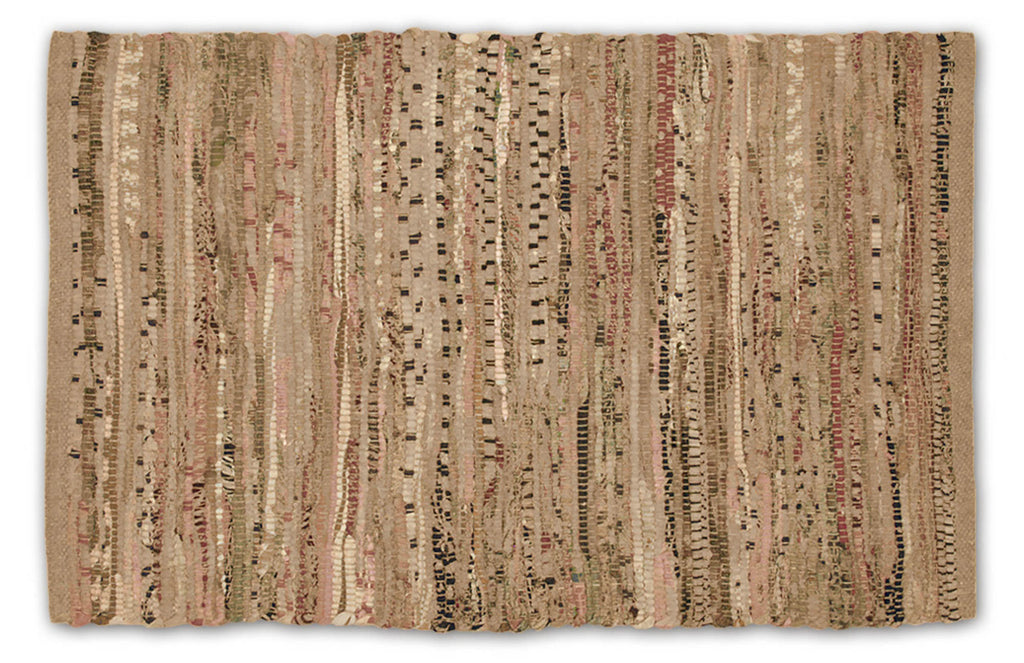 Multi Taupe Rag Rug 4x6 Ft