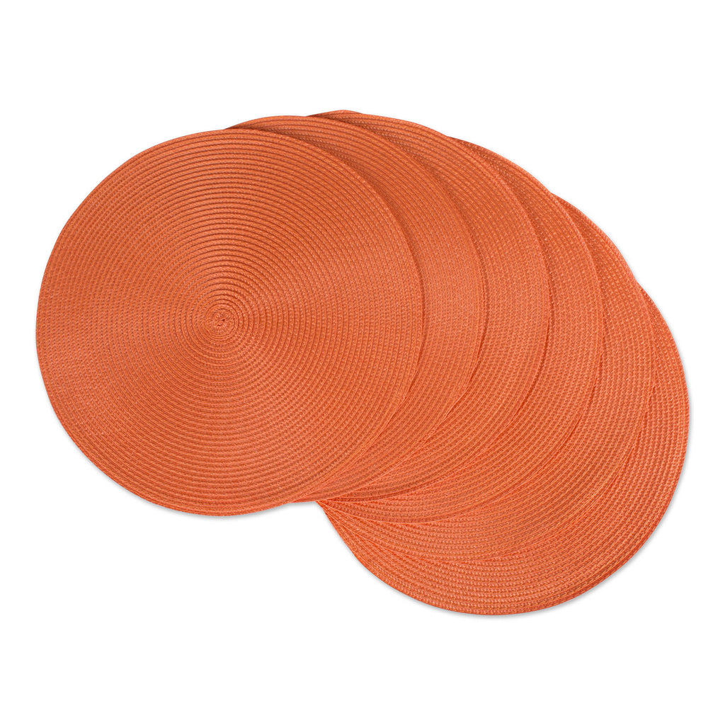 Orange Round Pp Woven Placemat Set/6