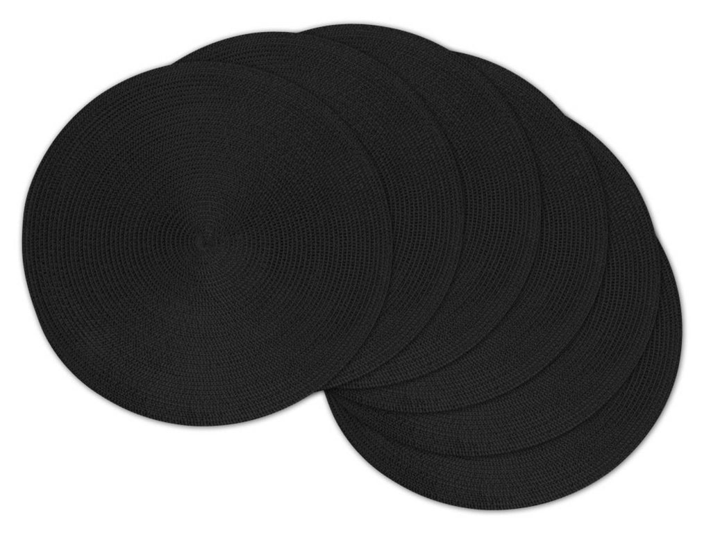 Black Round Pp Woven Placemat Set/6