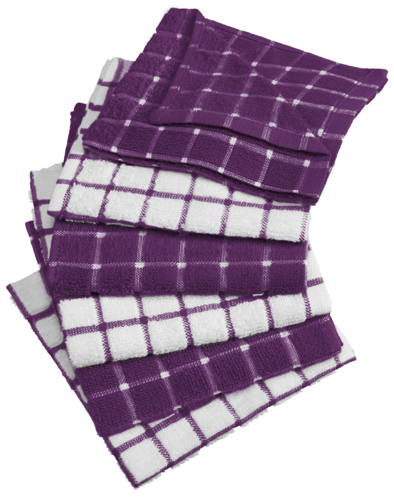 Eggplant Combo Windowpane Dishcloth Set/6