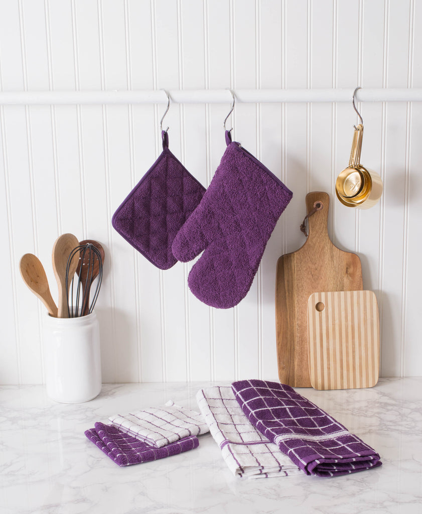 DII Eggplant Combo Windowpane Dishcloth (Set of 6)