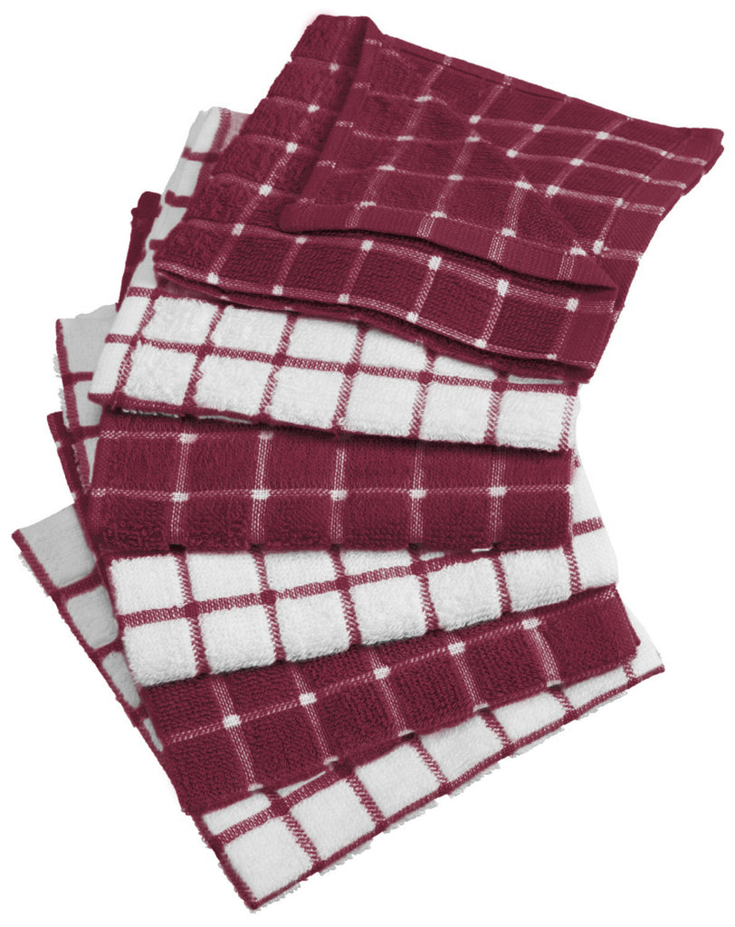 Wine Combo Windowpane Dishcloth Set/6