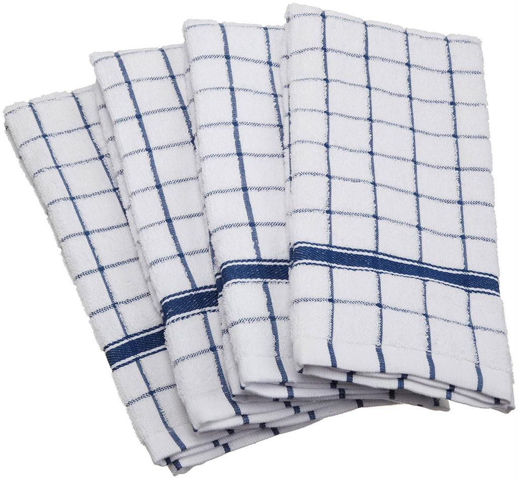 Nautical Blue Windowpane Terry Dishtowel Set/4