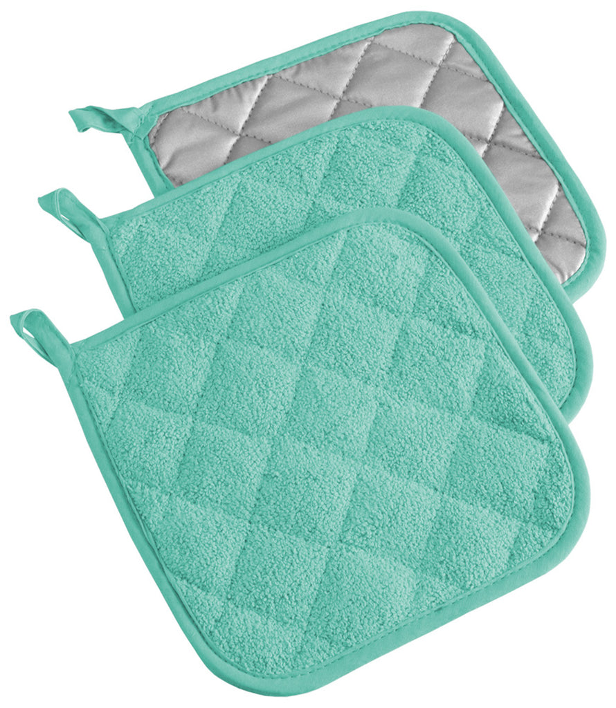 Aqua Terry Potholder Set/3