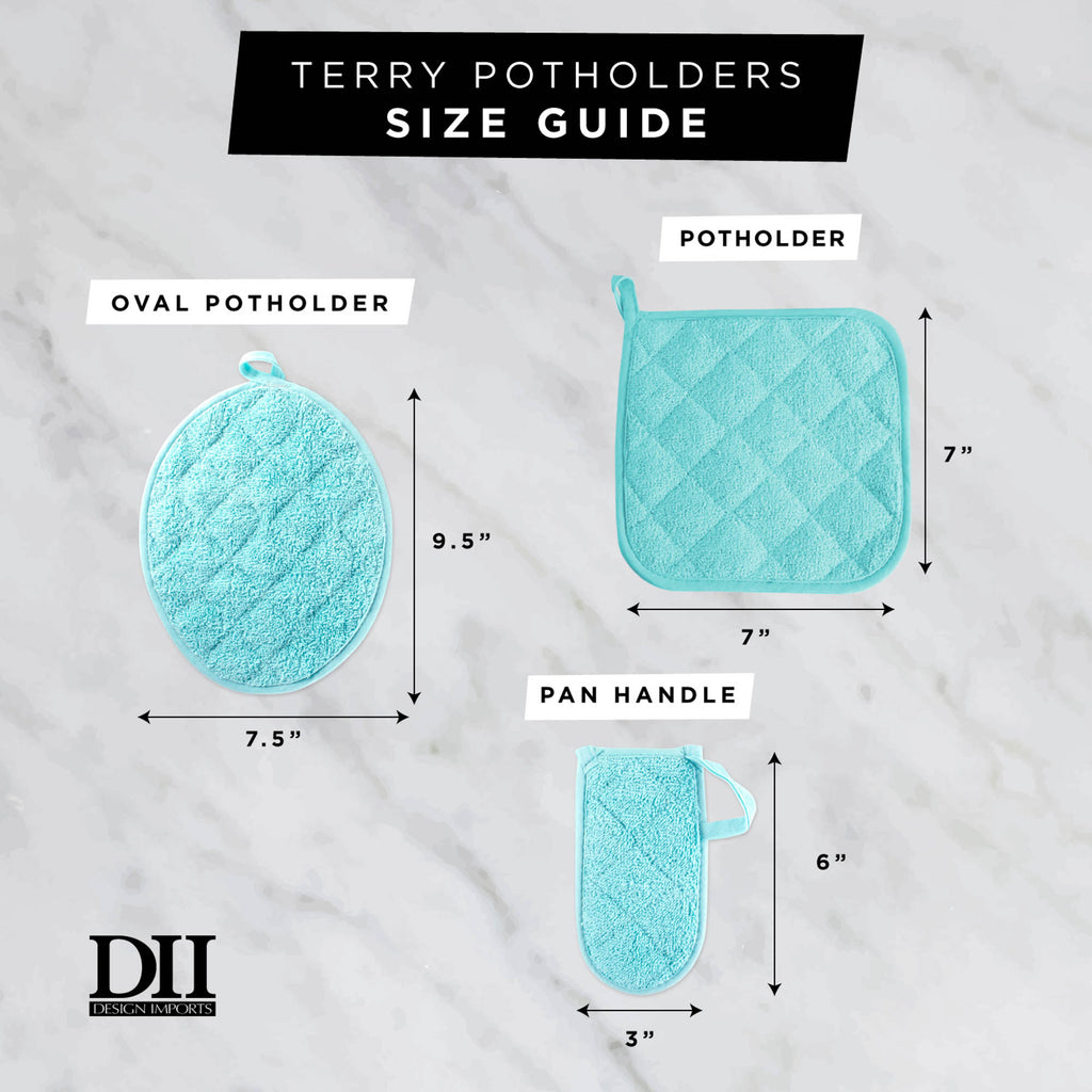 DII Aqua Terry Potholder (Set of 3)