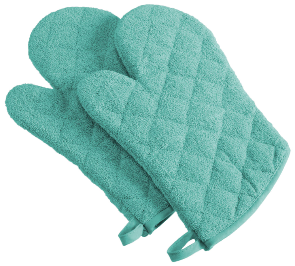 Aqua Terry Oven Mitt Set/2