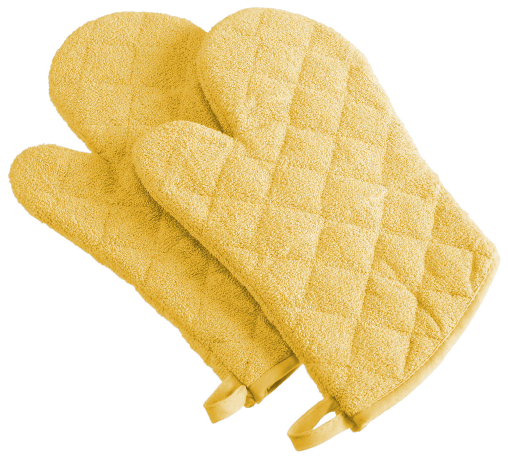 Yellow Terry Oven Mitt Set/2