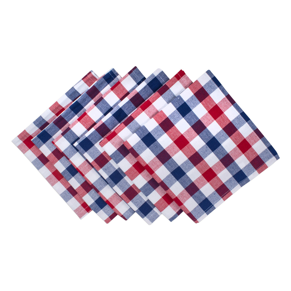 Red & Blue Check Napkin Set/6