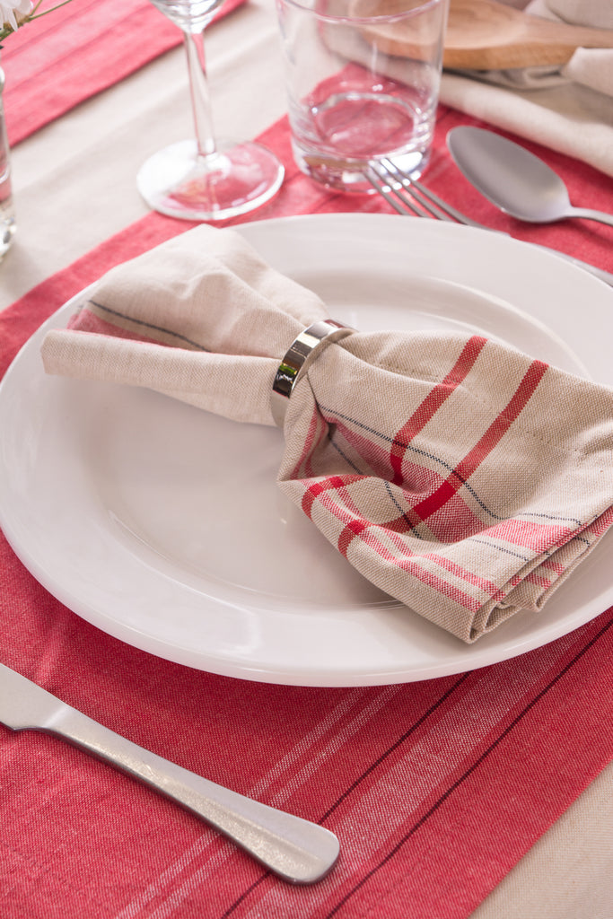 DII Red French Stripe Napkin (Set of 6)