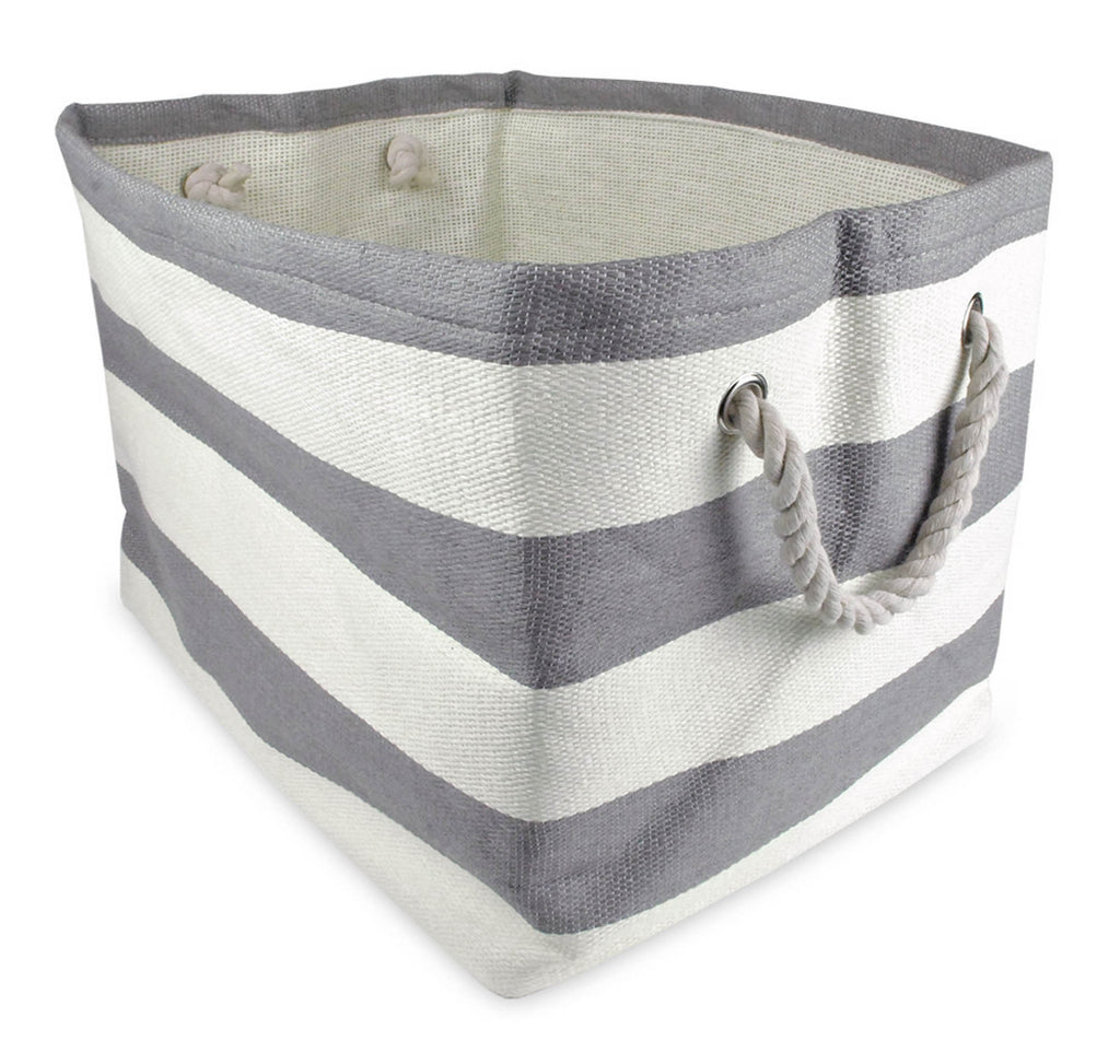 Paper Bin Stripe Gray Rectangle Large 17x12x12