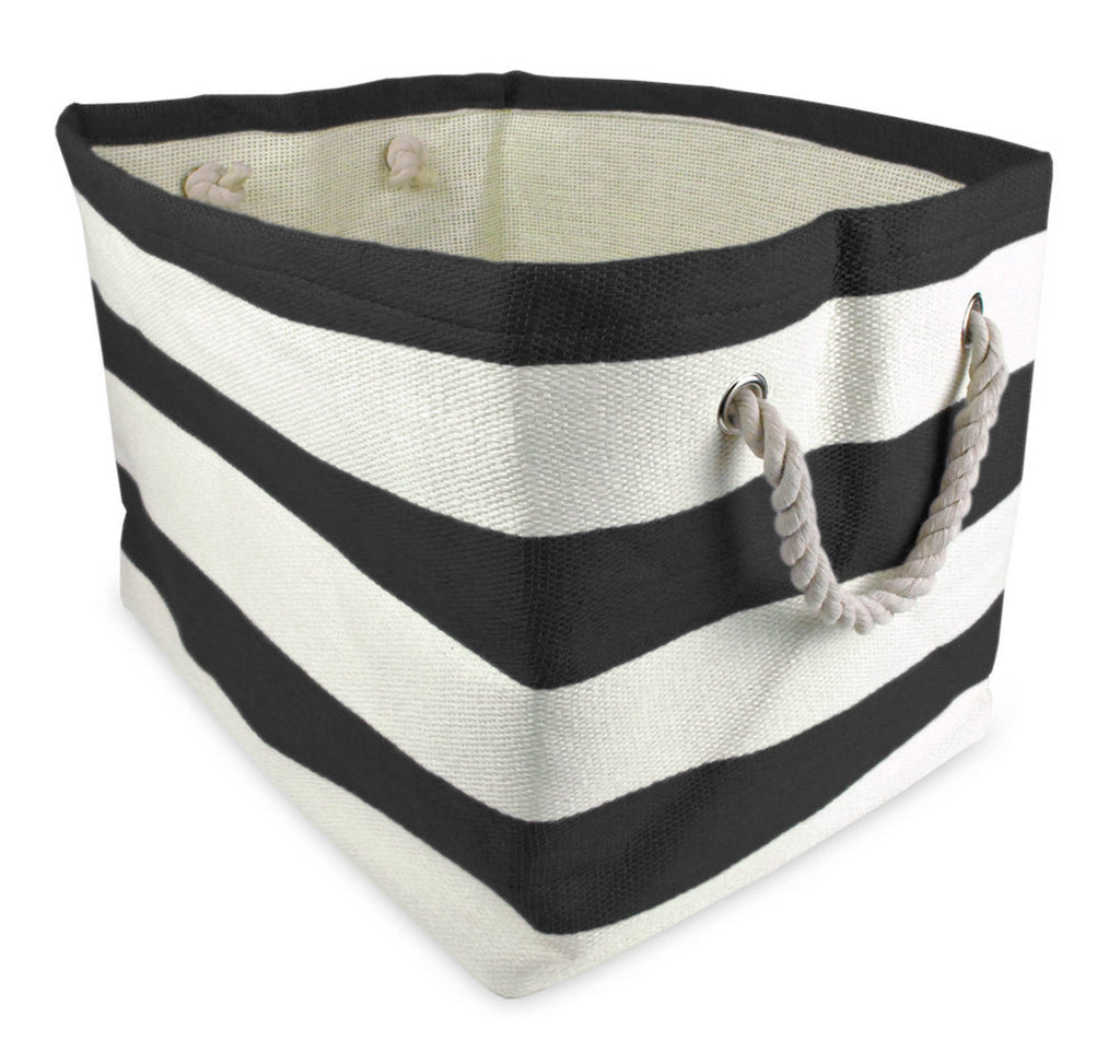 Paper Bin Stripe Black Rectangle Small 11x10x9