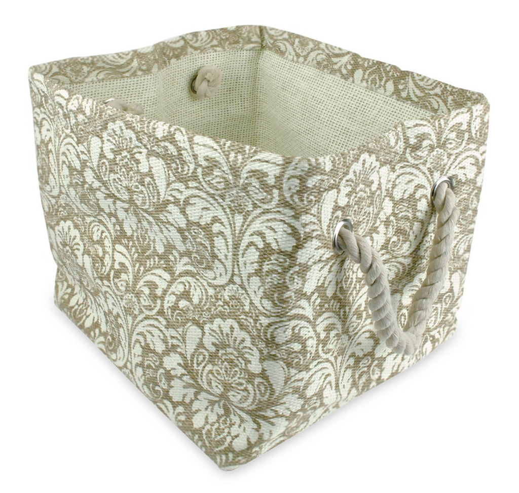 Paper Bin Damask Taupe Rectangle Large 17x12x12