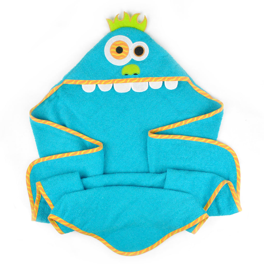 Kids Hooded Towel Blue Monster