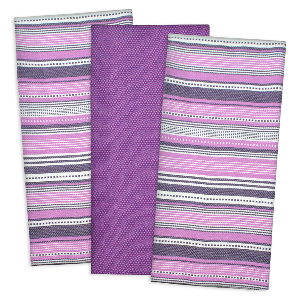 Eggplant Urban Stripe Dishtowel Set/3