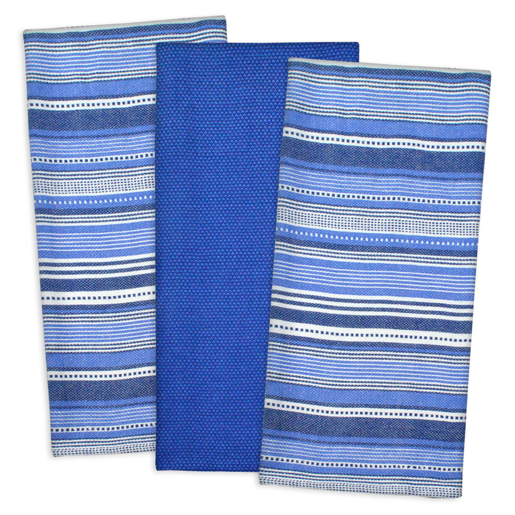 Nautical Blue Urban Stripe Dishtowel Set/3