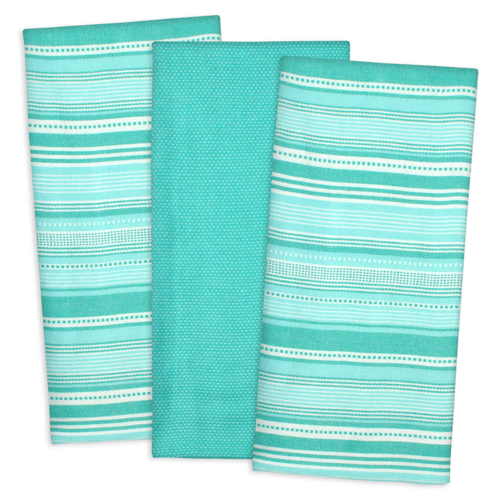 Aqua Urban Stripe Dishtowel Set/3