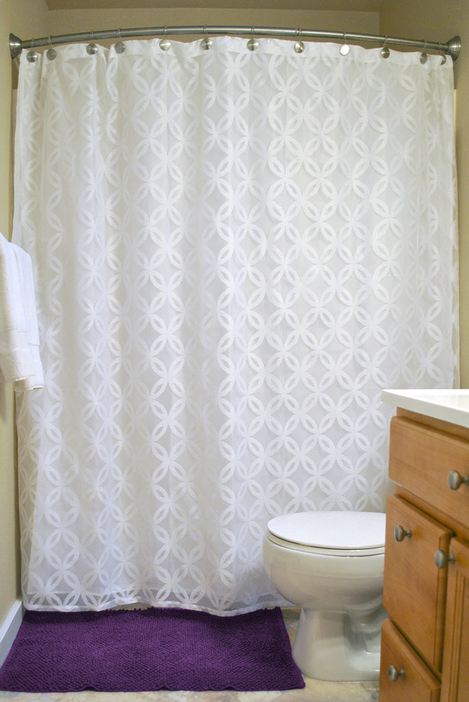 White Lace Lattice Shower Curtain