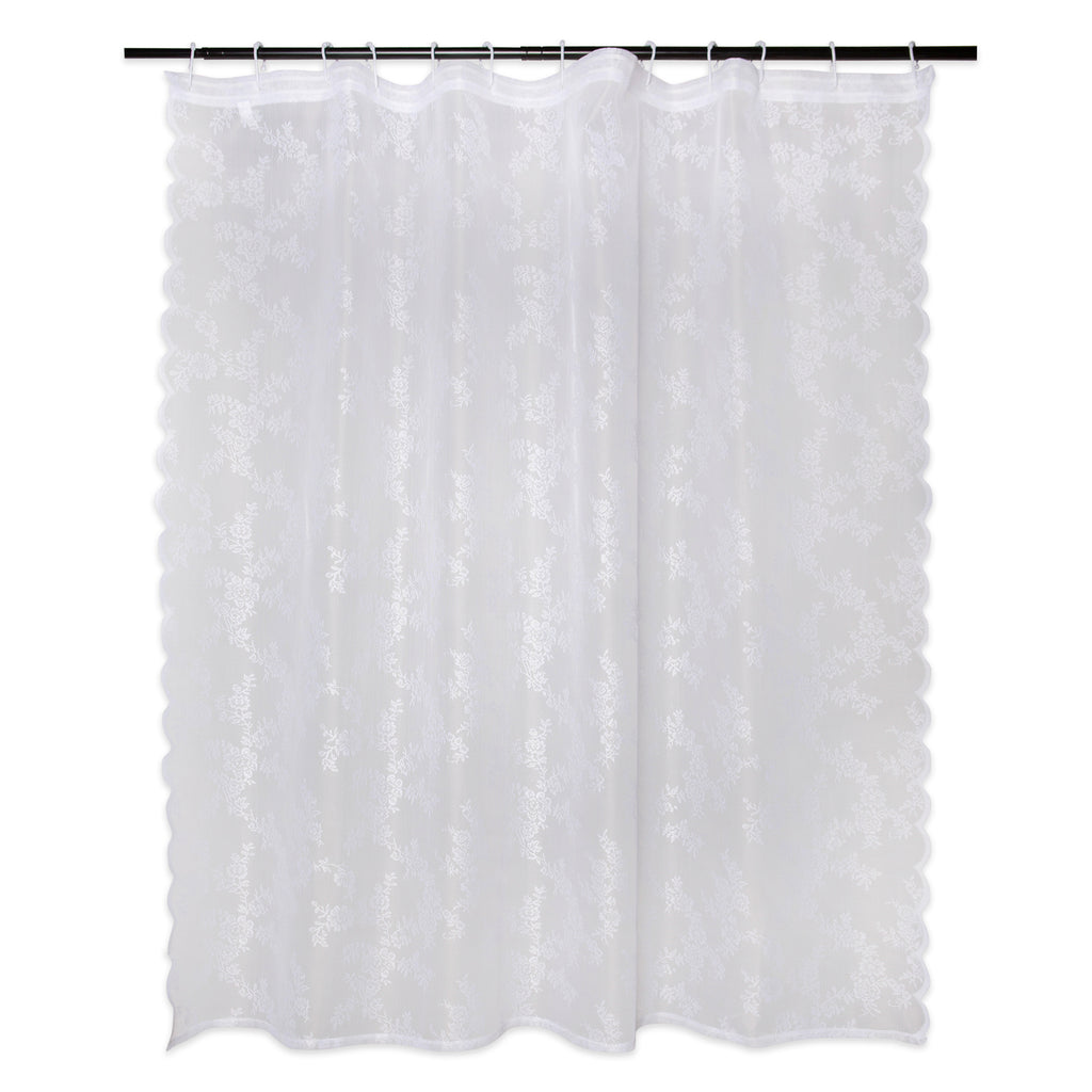 DII White Flower Blossom Lace Shower Curtain