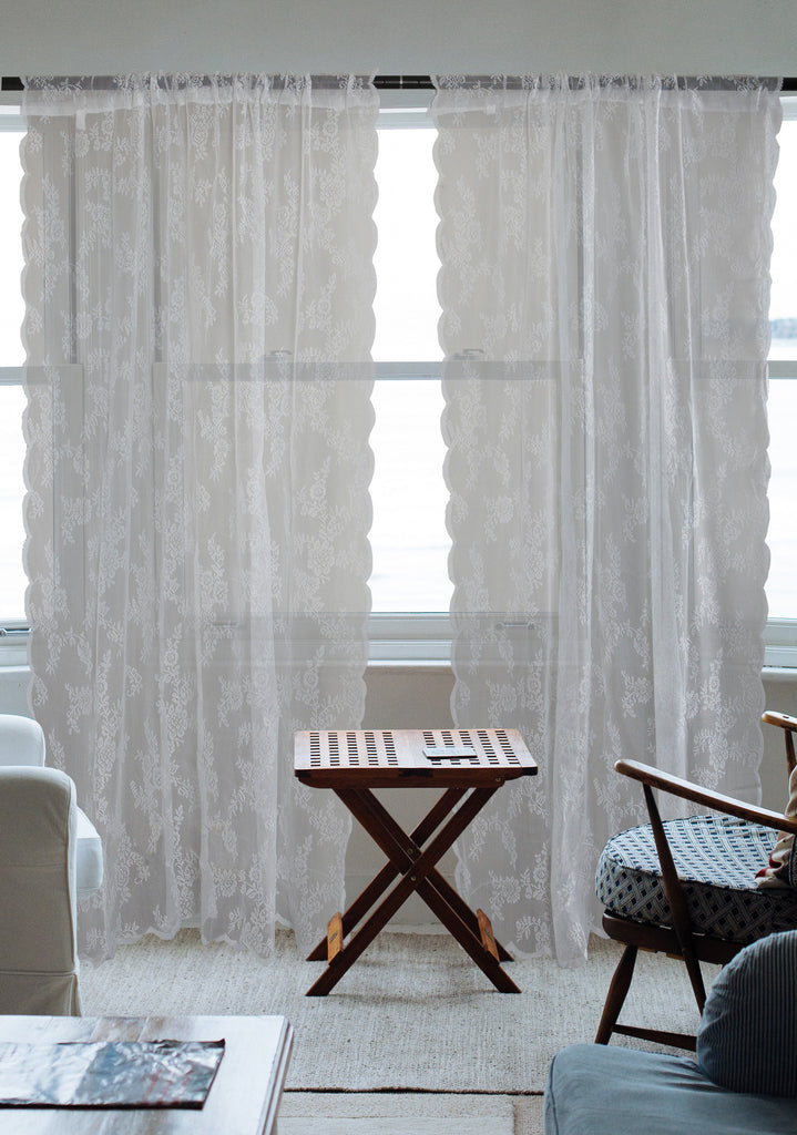 DII White Flower Blossom Lace Window Curtain (Set of 2)