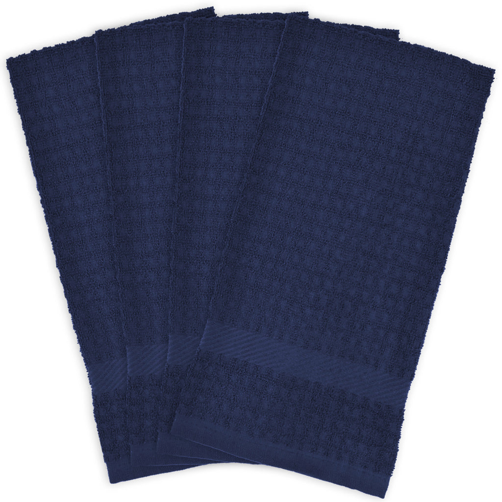 Solid Nautical Blue Waffle Terry Dishtowel Set/4