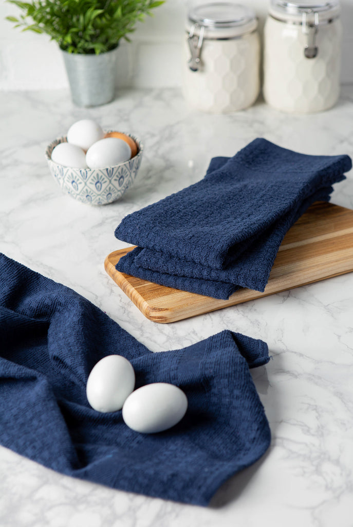 DII Solid Nautical Blue Waffle Terry Dishtowel (Set of 4)