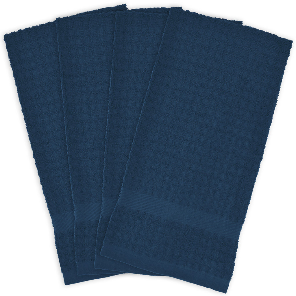 Solid Blue Waffle Terry Dishtowel Set/4