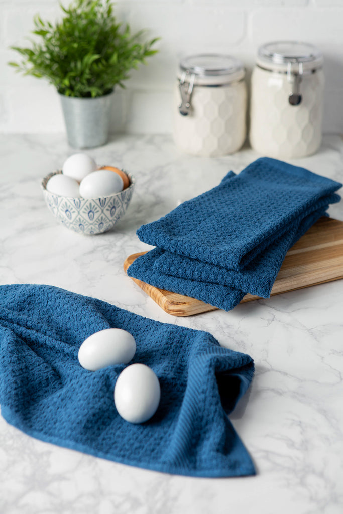 DII Solid Blue Waffle Terry Dishtowel (Set of 4)