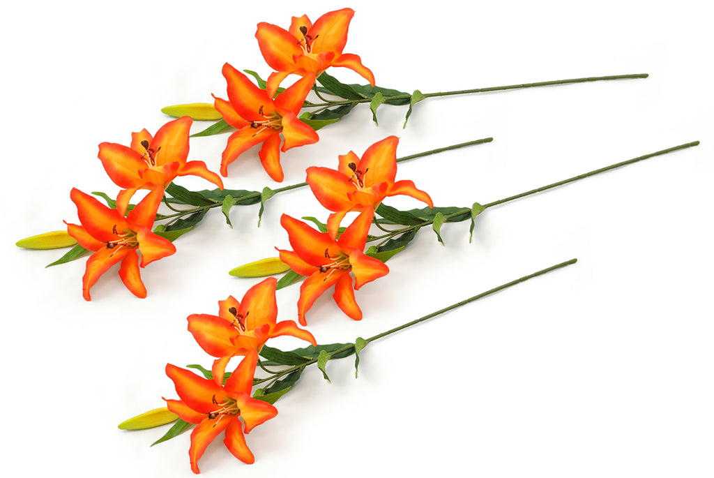 Flower Tiger Lily Orange Set/4