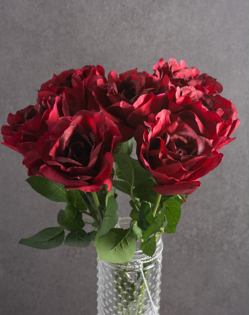 DII Flower Open Rose Deep Red (Set of 6)