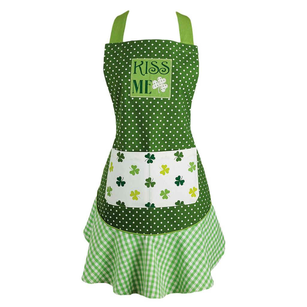 Kiss Me St Pattys Day Ruffle Apron