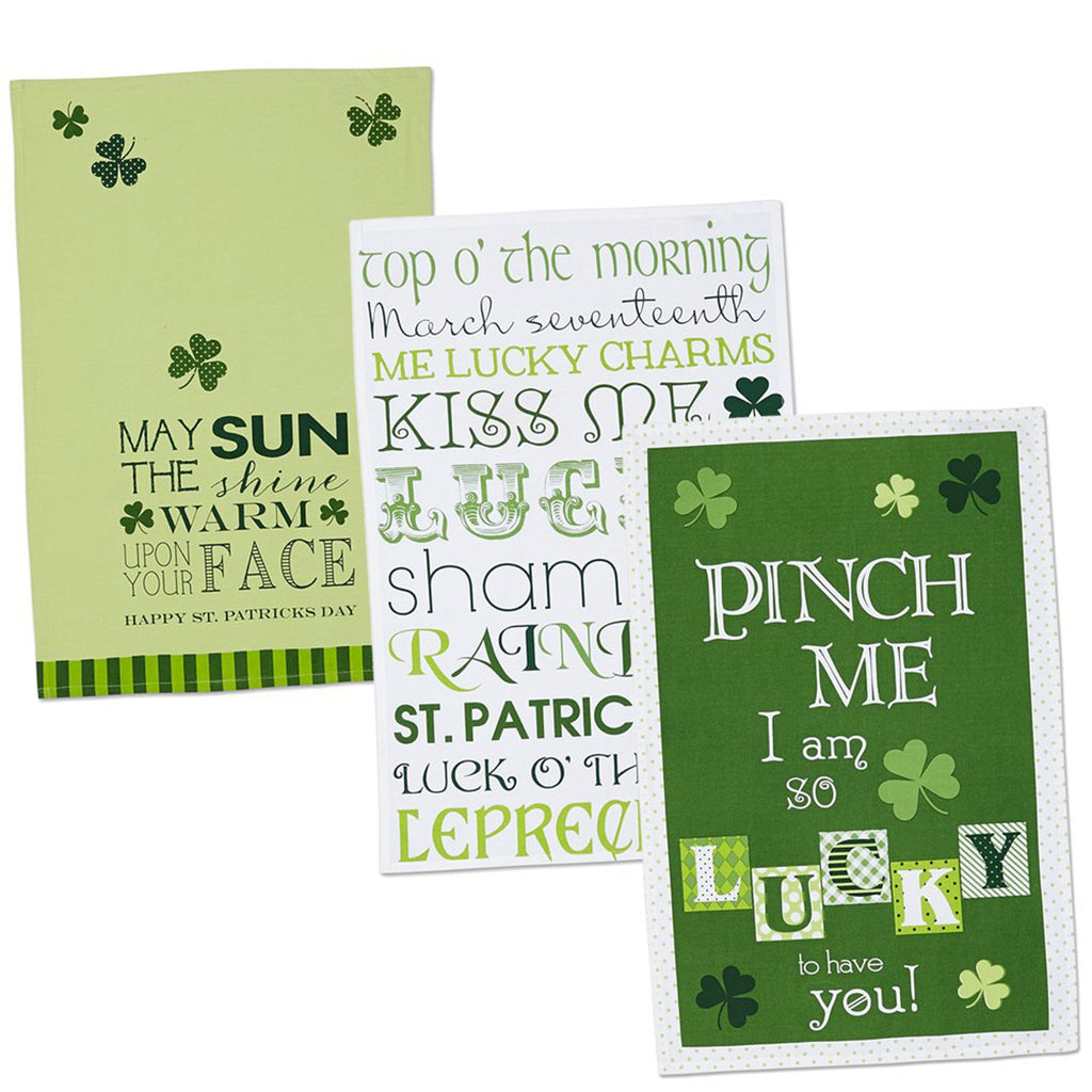 Asst St Patricks Day Printed Dishtowel Set/3
