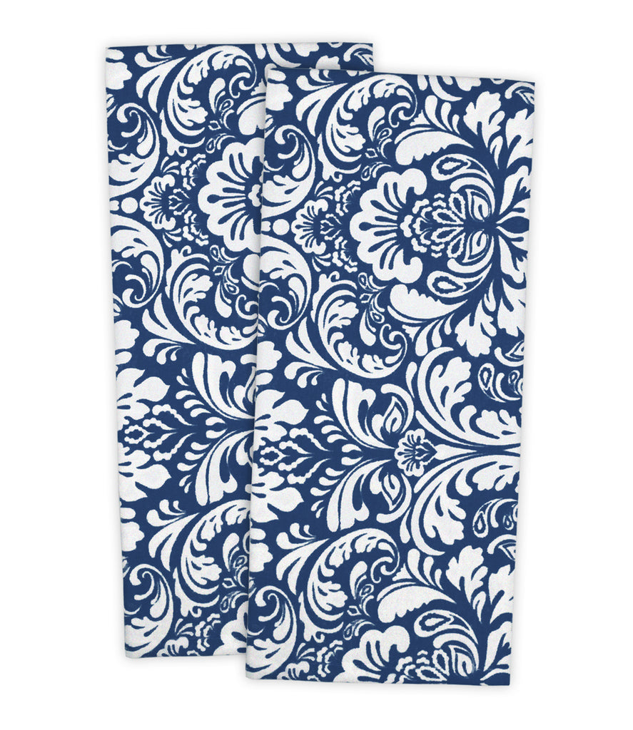 Nautical Blue Damask Dishtowel Set/2
