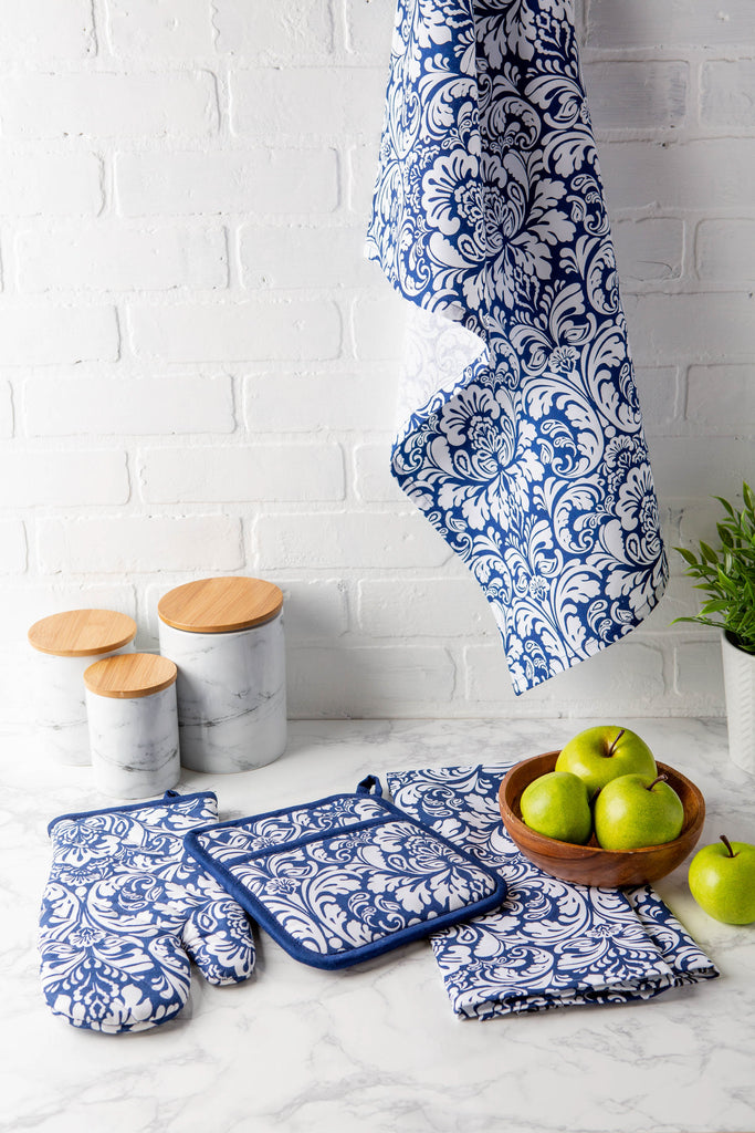 DII Nautical Blue Damask Dishtowel (Set of 2)
