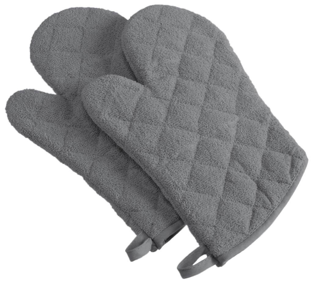 Gray Terry Oven Mitt Set/2