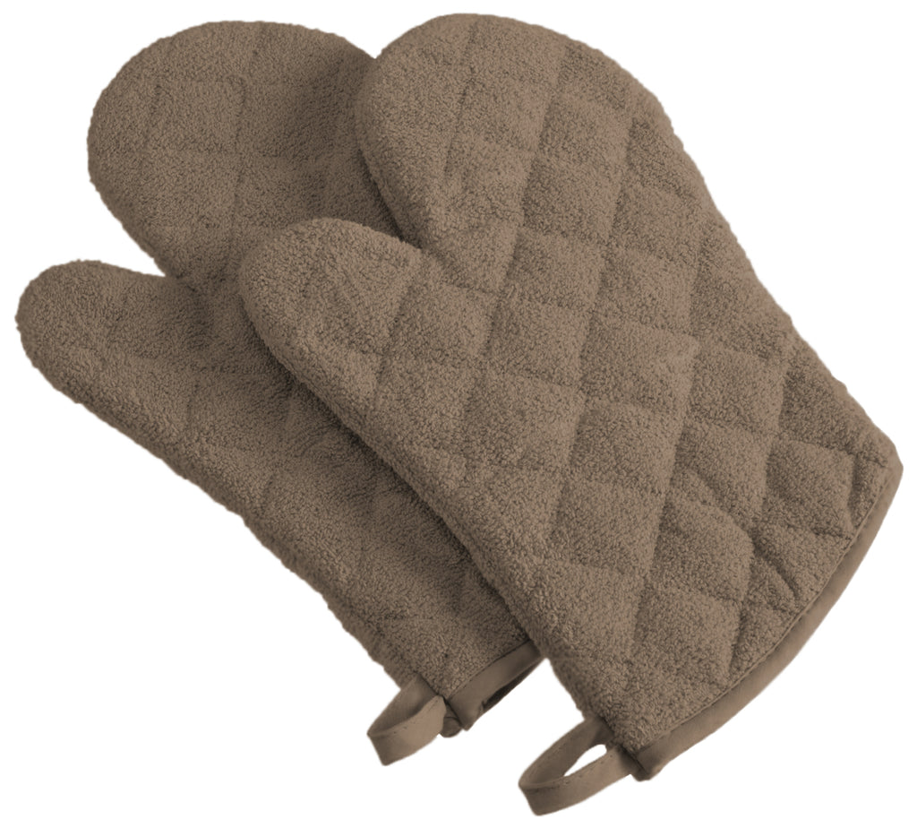 Brown Terry Oven Mitt Set/2