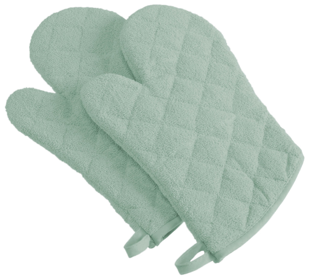 Mint Terry Oven Mitt Set/2
