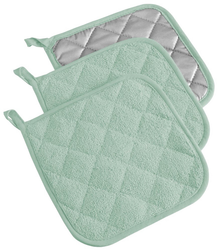 Mint Terry Potholder Set/3