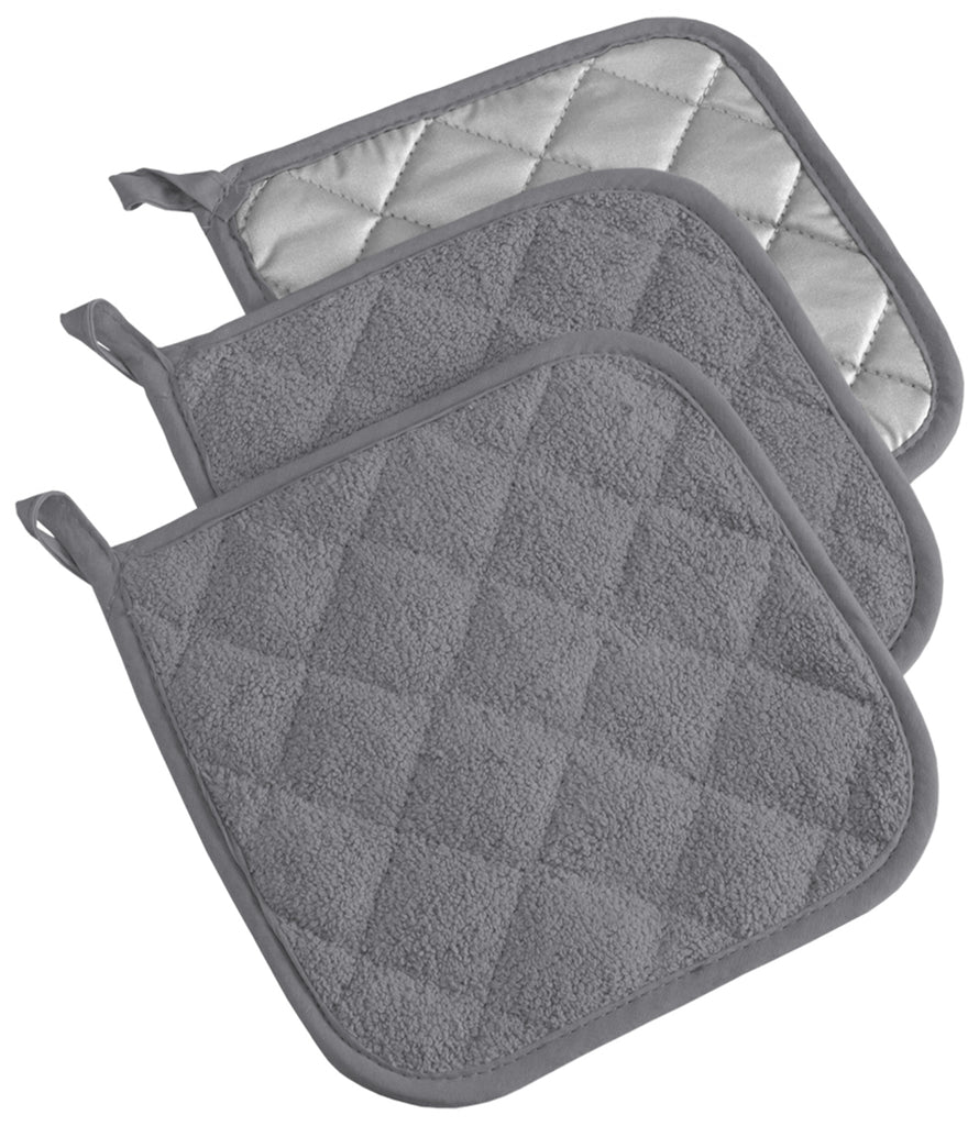 Gray Terry Potholder Set/3