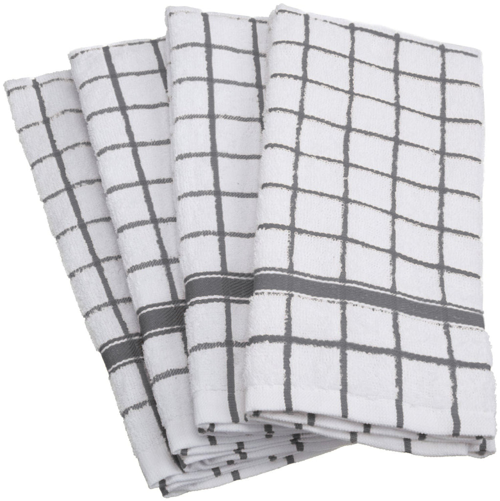 Gray Windowpane Terry Dishtowel Set/4