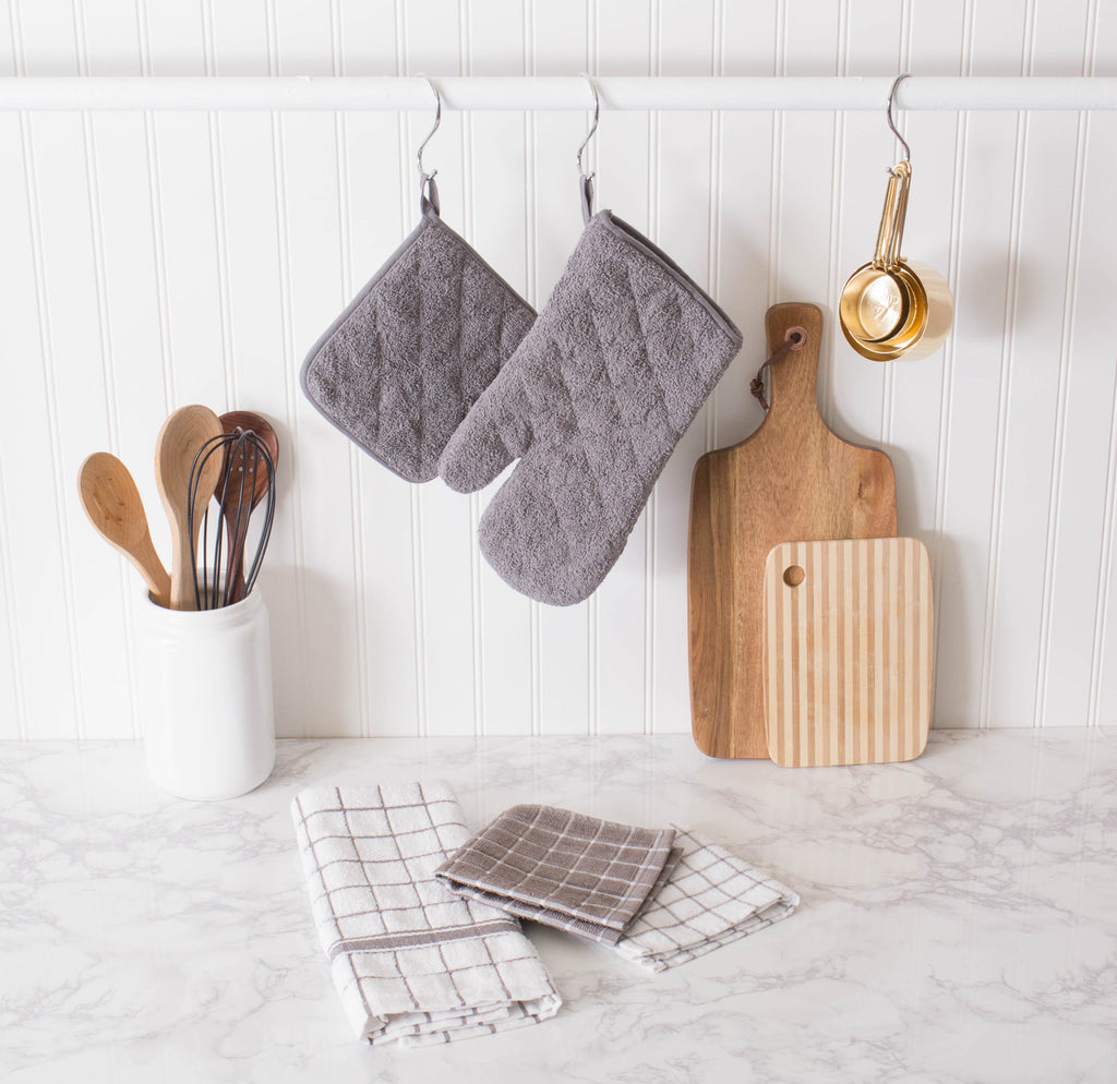 DII Gray Windowpane Terry Dishtowel (Set of 4)