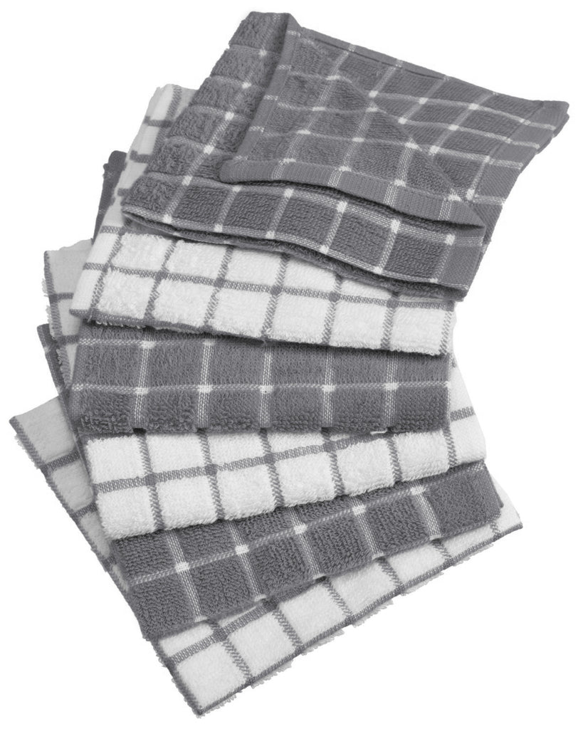 Gray Combo Windowpane Dishcloth Set/6