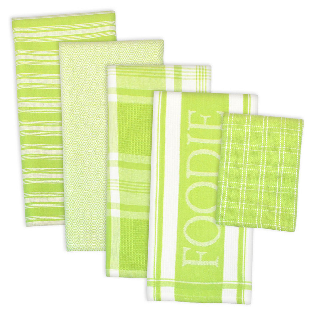 Asst Lime Foodie Dishtowel And Dishcloth Set/5