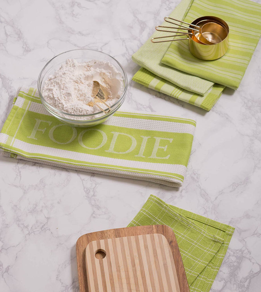 DII Assorted Lime Foodie Dishtowel And Dishcloth (Set of 5)