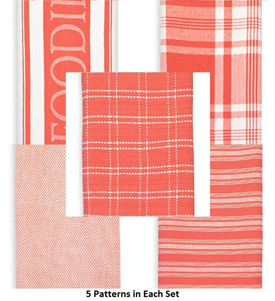 DII Assorted Coral Foodie Dishtowel & Dishcloth (Set of 5)
