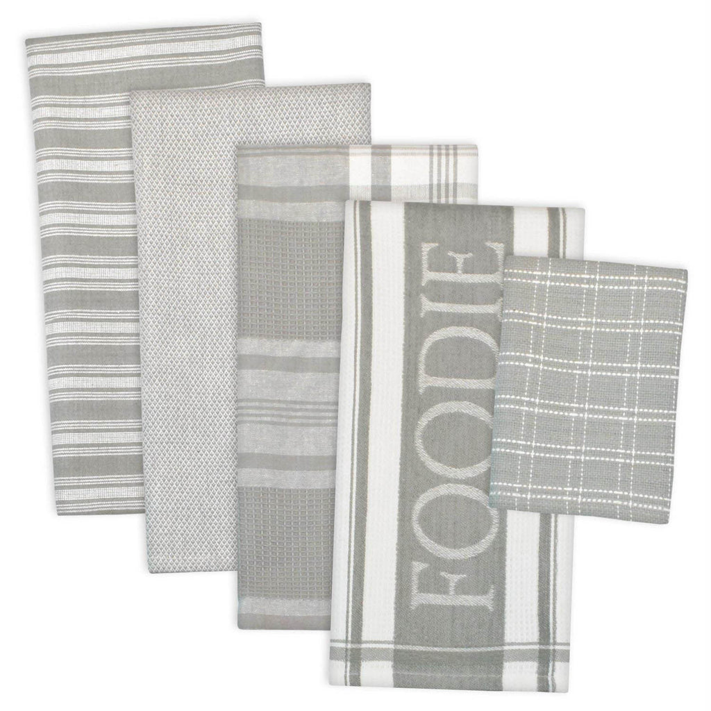 Asst Light Gray Foodie Dishtowel & Dishcloth Set/5