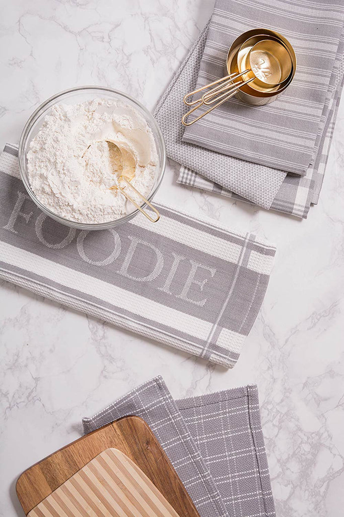 DII Assorted Light Gray Foodie Dishtowel & Dishcloth (Set of 5)