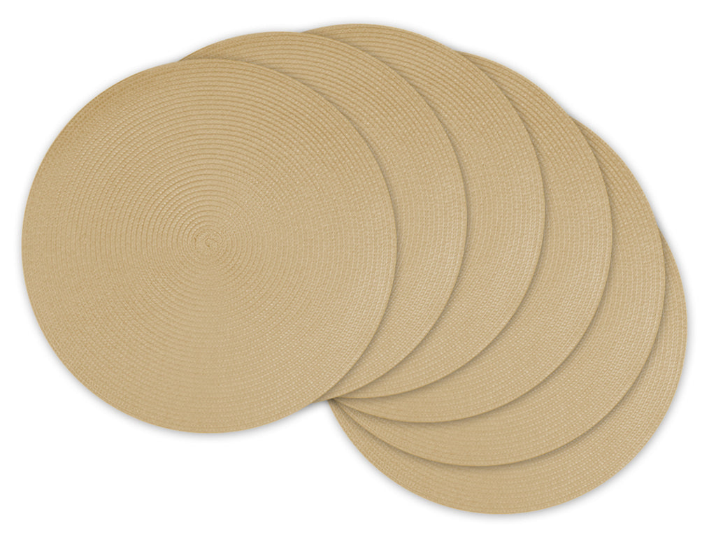Natural Round Pp Woven Placemat Set/6