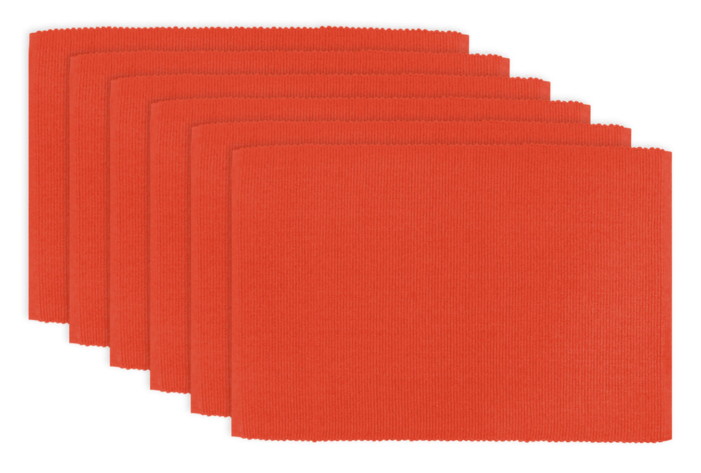 Ribbon Red Ribbed Placemat Set/6